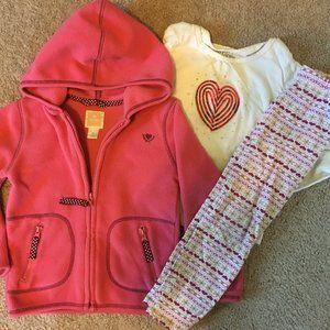 3 piece girls 4t sweatshirt, leggings & shirt